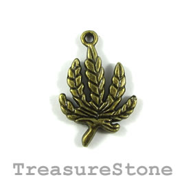 Charm/pendant, brass-plated, 20x25 leaf. Pkg of 7.