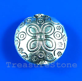 Bead, antiqued silver -finished, 19x10mm. Pkg of 4