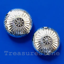 Bead, silver-finished, 18x8mm puffed round. Pkg of 3.