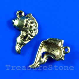 Pendant/charm, gold-finished, 13x17mm fish. Pkg of 8.