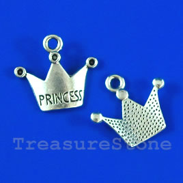 Pendant/charm, 13x19mm Princess Crown. Pkg of 8.