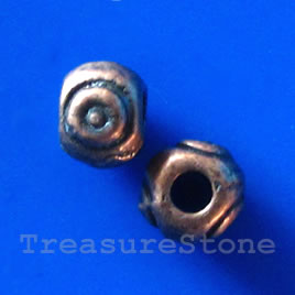 Bead, antiqued copper-finished, 4x6mm. Pkg of 20.