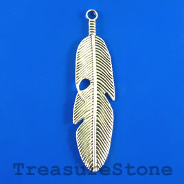 Pendant, silver-finished, 15x58mm feather. Pkg of 3.