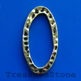 Bead, gold-finished, 38x20/14x30mm oval ring. Pkg of 5.