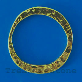 Bead, antiqued brass-finished, 30/23mm ring. Pkg of 5.
