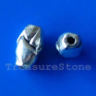 Bead, antiqued silver-finished, 5x7mm. Pkg of 20.