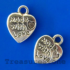 Charm/pendant, 13x10mm heart, Made with Love. Pkg of 14.