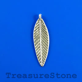 Charm/pendant, silver-plated, 10x30 leaf. Pkg of 9.