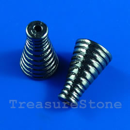 Cone, gunmetal-finished, 11x17mm. pkg of 6.