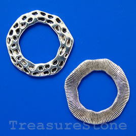 Bead, silver-finished, 33/20mm flat ring. Pkg of 3.