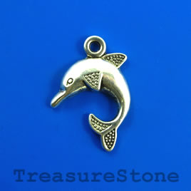 Pendant/charm, 24x28mm dolphin. Pkg of 5.