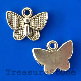 Charm/pendant,silver-plated, 9x12mm butterfly. Pkg of 15.