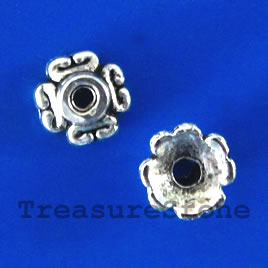 Bead cap, antiqued silver-finished, 7x3mm. Pkg of 20
