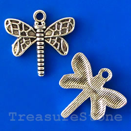 Charm/pendant, 17x20mm dragonfly. Pkg of 5.