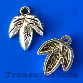 Charm/pendant, silver-plated, 14mm leaf. Pkg of 12.