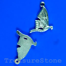 Pendant/charm, silver-finished,19mm butterfly. Pkg of 10.