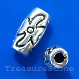 Bead, antiqued silver-finished, 9x5mm tube. Pkg of 15.