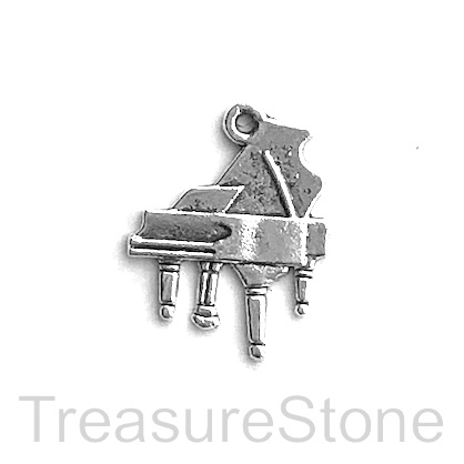 Charm, silver-finished, 16x19mm piano. Pkg of 12.