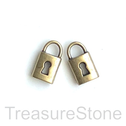 Pendant/charm, brass-finished, 8x13mm lock. pkg of 12.