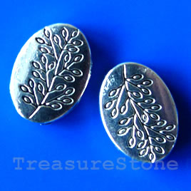 Bead, silver-finished, 10x13mm oval with leaves. Pkg of 10.