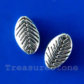 Bead, antiqued silver-finished, 10x6mm leaf. Pkg of 20.
