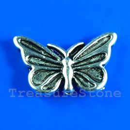 Bead, silver-finished, 10x16mm butterfly. Pkg of 12.