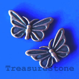 Bead, copper finished, 10x17x3m butterfly. Pkg of 12.