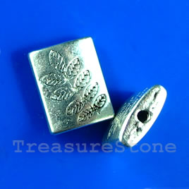 Bead, silver-finished, 10x13mm rectangle with leaves. Pkg of 10.