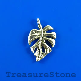 Charm/pendant, silver-plated, 13x17mm leaf. Pkg of 10.
