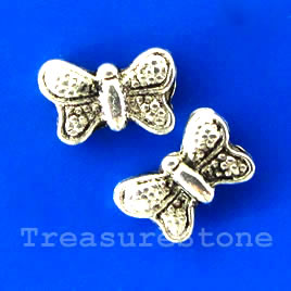 Bead, silver-finished, 10x7mm butterfly. Pkg of 20.