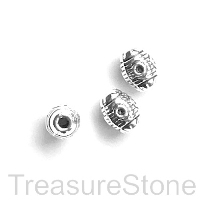 Bead, antiqued Silver Finished, 6x8mm rice. Pkg of 12