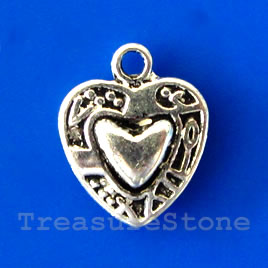 Charm/pendant, brass-finished, 13mm heart. Pkg of 12.