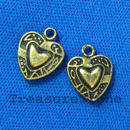 Pendant/charm, brass-finished, 13mm heart. Pkg of 12.