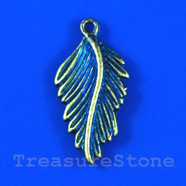 Pendant/charm, blue-finished, 15x27mm Leaf. Pkg of 5.
