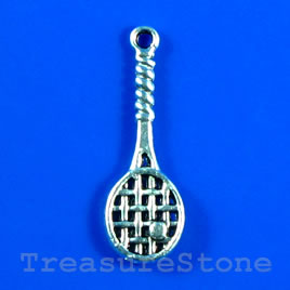 Pendant/charm, 10x26mm tennis racket. Pkg of 10.