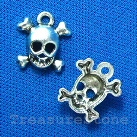 Pendant/charm, silver-finished, 13mm skull. Pkg of 12.