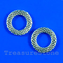 Bead, antiqued silver-finished, 14mm circle. Pkg of 12.