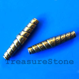 Bead, antiqued brass finished tube, 5x26mm. pkg of 8.