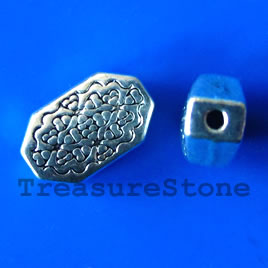 Bead, antiqued silver-finished, 8x13x5mm. Pkg of 10.