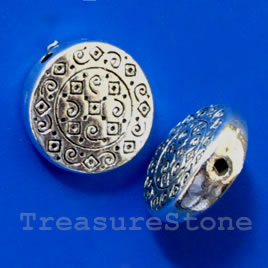 Bead, silver-finished, 12x4mm flat round. Pkg of 8.