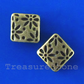 Bead, antiqued brass finished, 7x3mm. Pkg of 14.