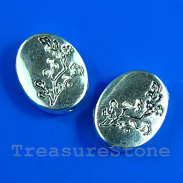 Bead, antiqued silver-finished, 10x12x3mm. Pkg of 12