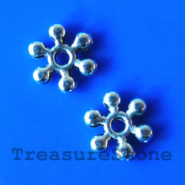 Bead, antiqued silver finished, 7mm beaded rondelle. Pkg of 20.