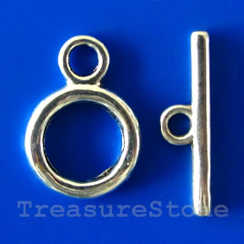 Clasp,toggle,antiqued silver-finished,14/22mm. Pkg of 8.