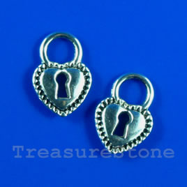 Pendant/charm, 12x18mm heart lock. Pkg of 12.