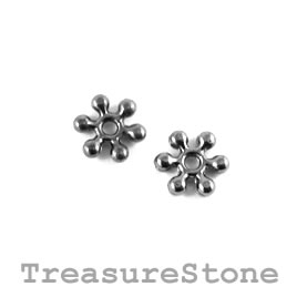 Bead, black-colored, 7mm daisy. Pkg of 20.
