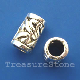 Bead, antiqued silver-finished, large hole, 7x12mm tube. 10pcs