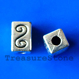 Bead, antiqued silver-finished, 10x7mm square tube. Pkg of 8