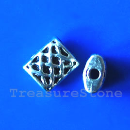 Bead,antiqued silver-finished,6x7mm rectangle. Pkg of 20. - Click Image to Close