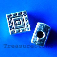 Bead, antiqued silver-finished, 4x6mm. Pkg of 20.
